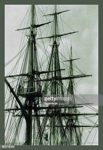 The rigging and spars of the USS Constitution aka 'Old Ironsides' This image illustrates the complex network of ropes and timber needed to run a...