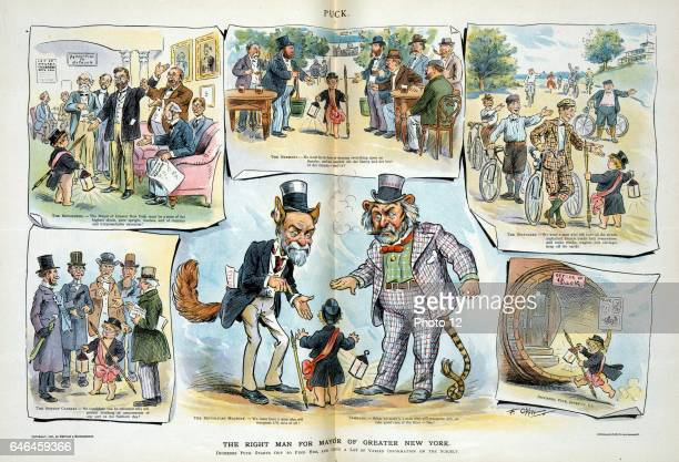 The right man for mayor of greater New York by Frederick Burr Opper 18571937 artist Published 1897 Print shows a vignette cartoon with Puck as...