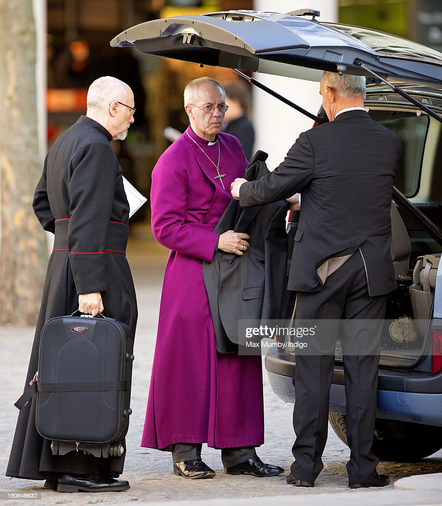 The Right Reverend Justin Welby, Bishop of Durham (C) arrives at St Paul's Cathedral to attend a service of confirmation during which he will become The Most Reverend Justin Welby, Archbishop of Canterbury on February 04, 2013 in London, England. The Bishop of Durham Justin Welby replaces Dr Rowan Williams and becomes the 105th Archbishop of Canterbury, with the office of Archbishop conferred on him in a ceremony known as the Confirmation of Election. His enthronement will take place in March at Canterbury Cathedral.