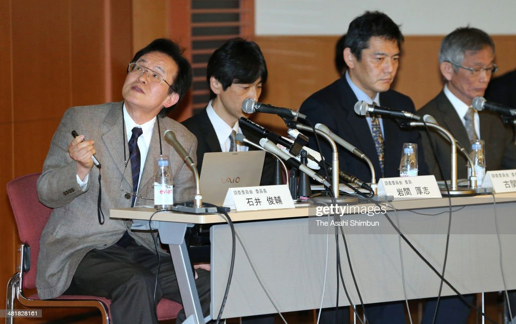 The Riken national research institute investigative committee members explain at a news conference on April 1, 2014 in Tokyo, Japan. The Riken found evidence of misconduct in supposedly groundbreaking studies on stem cells that had brought worldwide acclaim to one of its scientists. An investigative committee was set up after irregularities were pointed out in articles published by stem-cell biologist Haruko Obokata in the prestigious British science journal Nature in late January.