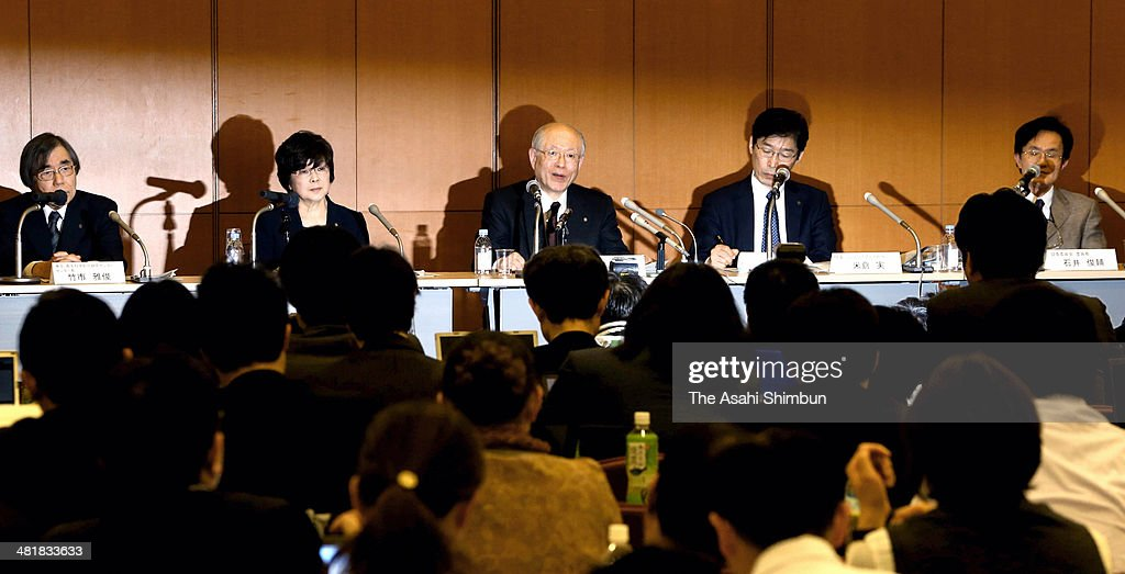 The Riken national research institute President and the Nobel prize winner in Chemistry Ryoji Noyori (C) speaks during a news conference on April 1, 2014 in Tokyo, Japan. The Riken found evidence of misconduct in supposedly groundbreaking studies on stem cells that had brought worldwide acclaim to one of its scientists. An investigative committee was set up after irregularities were pointed out in articles published by stem-cell biologist Haruko Obokata in the prestigious British science journal Nature in late January.
