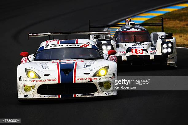 The Riley Motorsports SRT Viper of Jeroen Bleekemolen Ben Keating and Marc Miller drives during the Le Mans 24 Hour race at the Circuit de la Sarthe...
