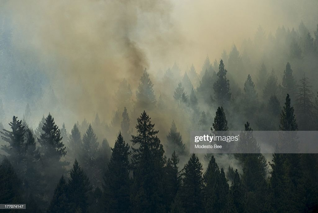 The Rim Fire burns in the Stanislaus National Forest in California, Tuesday August 20, 2013.