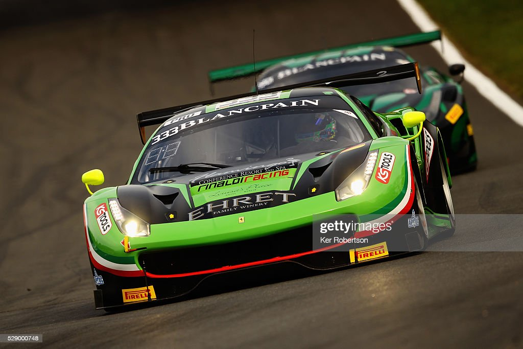 The Rinaldi Racing Ferrari of Marco Seefried and Norbert Siedler drives during qualifying for the Blancpain GT Series Sprint Cup at Brands Hatch on...