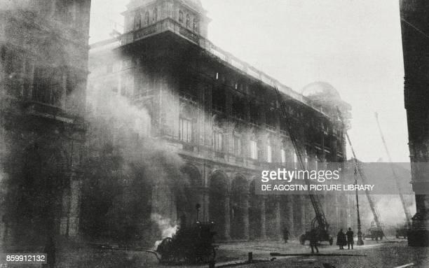 The Rinascente building on fire in Milan Italy December 25 from l'Illustrazione Italiana Year XLV No 52 December 29 1918
