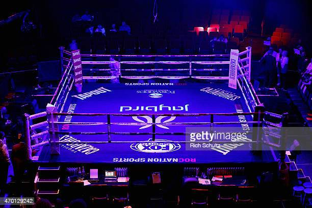 The ring is seen before bouts begin at throne boxing presented by Roc Nation Sports Live on Fox Sports 1 at Foxwoods Resort Casino on April 17 2015...