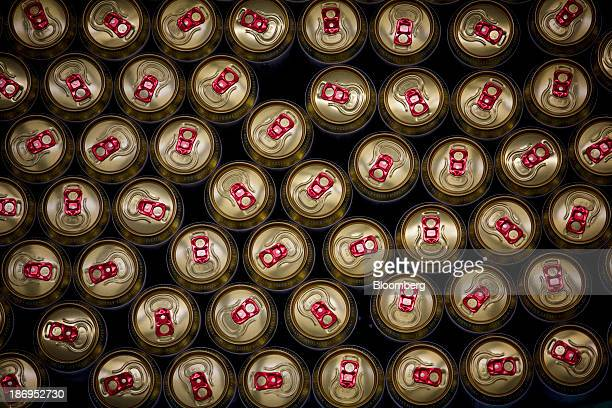 The ring pulls of canned Budweiser Budvar are seen as they pass along the production line at the headquarters of Budejovicky Budvar NP the Czech...