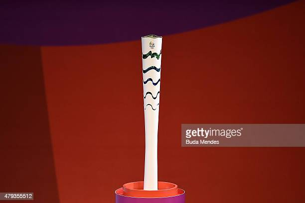 The Rio 2016 Olympic torch is seen during its launching ceremony on July 3 2015 in Brasilia Brazil