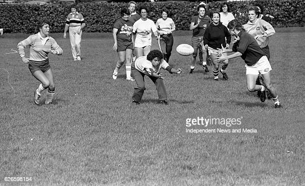 The Rio Grande Surfers Women's Rugby team training in College Park Dublin circa October 1983