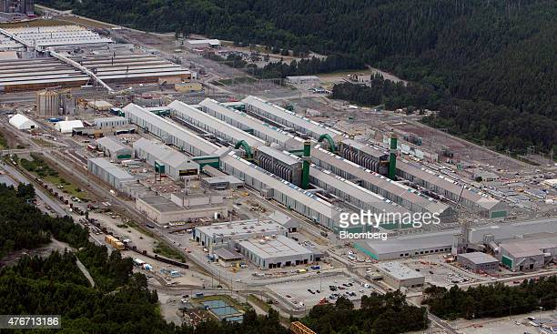 The Rio Tinto Alcan Inc smelter facility stands in this aerial photograph taken above Kitimat British Columbia Canada on Saturday June 6 2015...