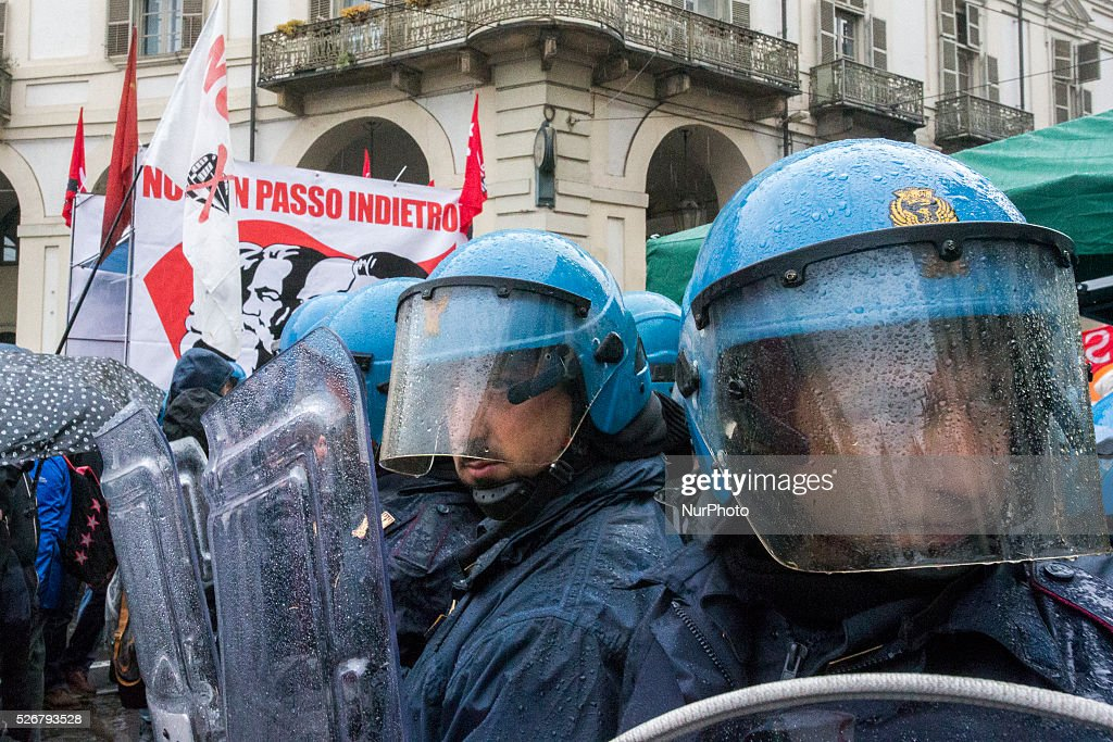 The riot police controls the situation during the rally on Labour Day in Turin, Italy, on May 1, 2016..