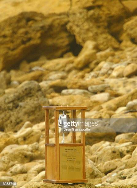 The Ripcurl classic trophy is displayed during round one of the Rip Curl Pro at Bells Beach April 9 2004 in Torquay Australia The Rip Curl Pro is...
