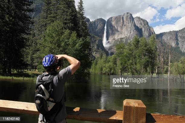 The rising Merced River and Yosemite Falls makes a scenic photo for a visitor on June 2011 Tourism was down in 2011 through June 30 at some of the...