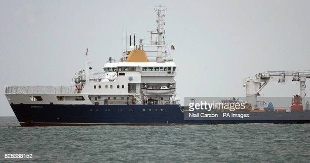 The Rising Sun fishing boat sits on board the Granuaile salvage ship Monday February 6 2006 after divers worked through the night to recover the...