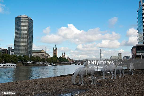 The Rising Tide by British underwater sculptor Jason deCaires Taylor is installed on the bank of the River Thames at Nine Elms on the South Bank on...