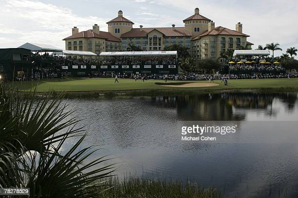 The RitzCarlton hotel and the 18th green during the second round of the Merrill Lynch Shootout at the Tiburon Golf Club in Naples Florida on November...