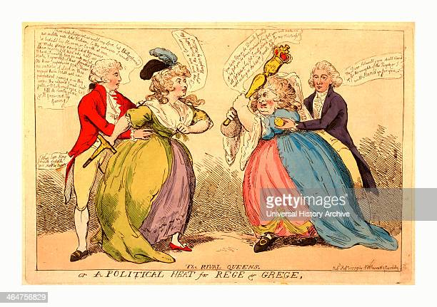 The Rival Queens Or A Political Heat For Rege Grege Engraving 1789 An Encounter Between Two Stout Ladies Mrs Fitzherbert And Mrs Schwellenberg Each...
