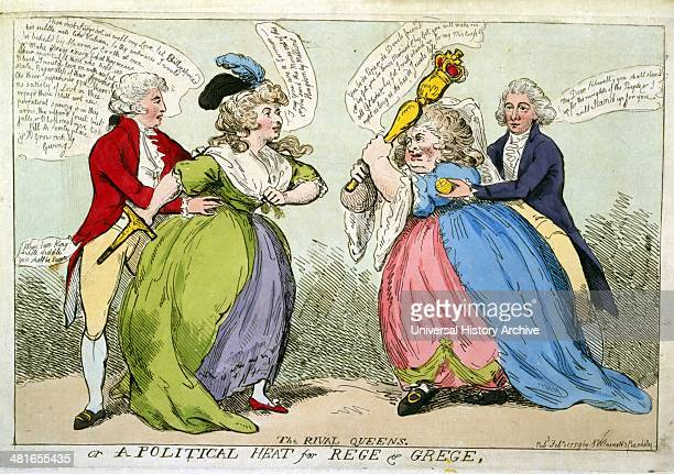 The rival queens or a political heat for Rege Grege Published [London] 1789 print etching An encounter between two stout ladies Mrs Fitzherbert and...