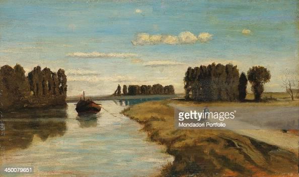 The River Arno near the farmhouses by Serafino De Tivoli 19th Century oil on board 22 x 36 cm