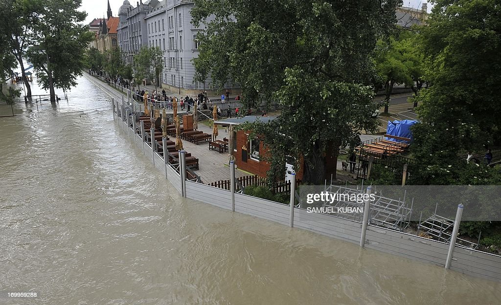 The river bank of the old town in Bratislava, Slovakia is overflooded by the Danube river on June 5, 2013. Torrential rain and heavy flooding hit central Europe.