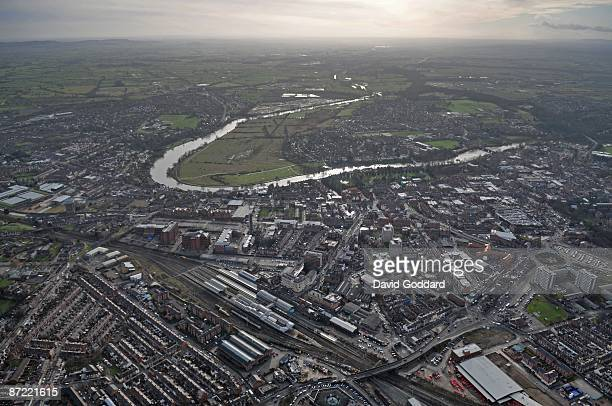 The River Dee running past the Cheshire town of Chester in this aerial photo taken on 20th January 2009