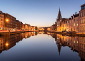 A View of the River Lee in Cork City, Ireland at Night.