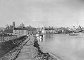 The River Ouse at Ely in the heart of Fenland with the cathedral towering above the houses in the background 3rd April 1951 Ely noted for the...