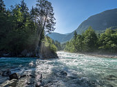 taken during a kayak trip at the soca near bovec, slovenia