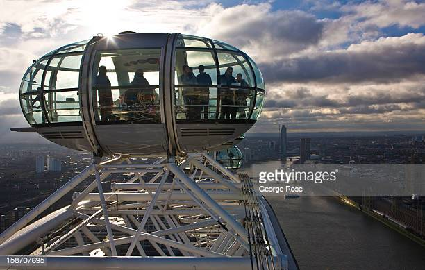 The River Thames from the top of The London Eye on December 6 in London England Central London captures the Christmas holiday spirit with shops...
