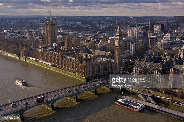 The River Thames Parliament and Big Ben from the top of The London Eye on December 6 in London England Central London captures the Christmas holiday...