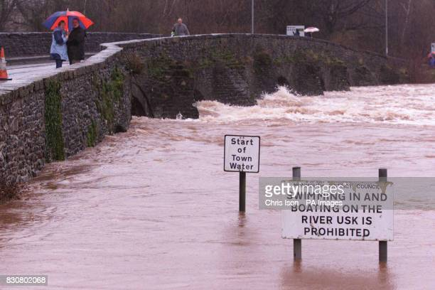 The River Usk which burst its banks and races through Abergavenny Wales The Environment Agency Wales confirmed three severe flooding warnings were...