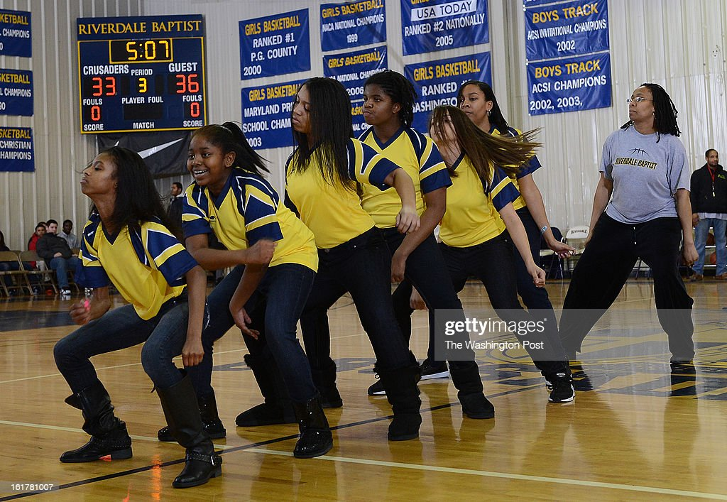 The Riverdale Baptist Step Team performs at halftime during the game against Princeton Day at Riverdale Baptist on Friday, February 15, 2013. Princeton Day defeated Riverdale Baptist 73-64.