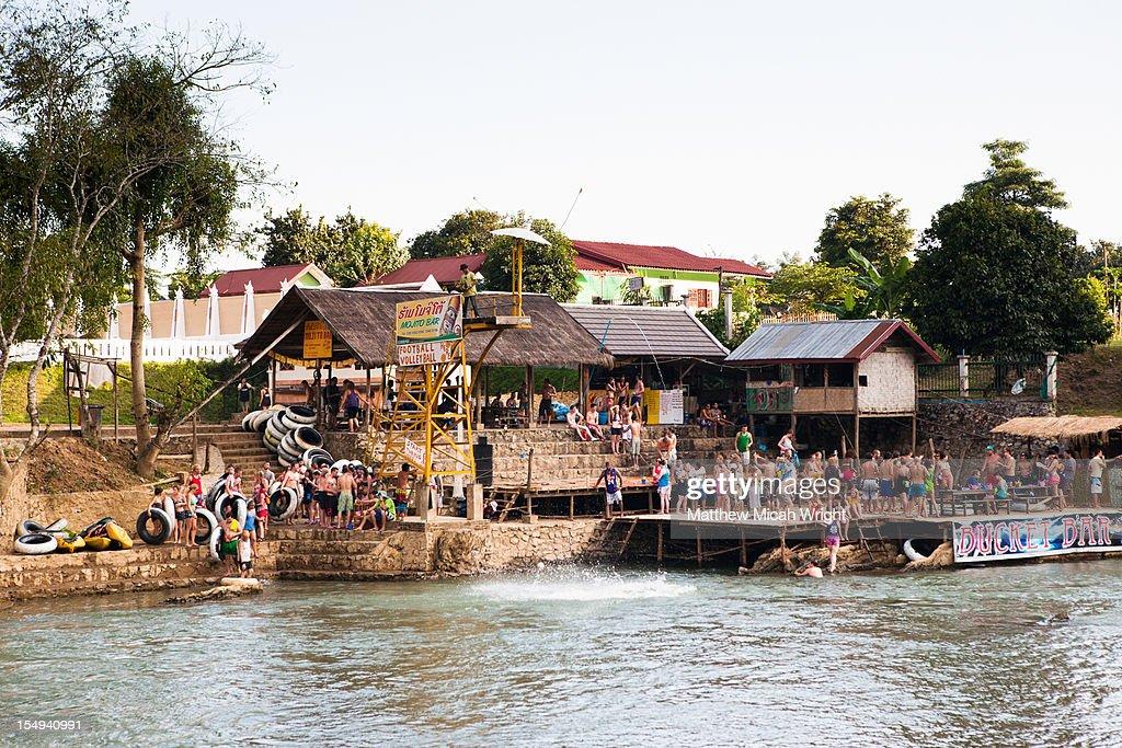 The riverside bars of Vang Vieng.