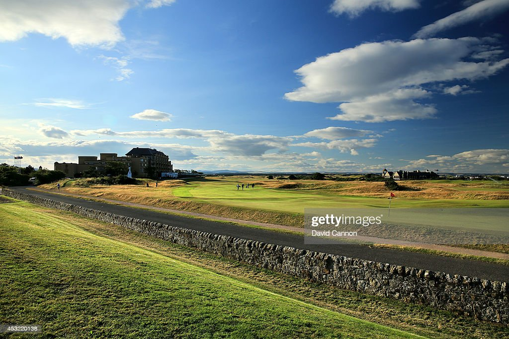 The road and wall behind the green on the 495 yards par 4, 17th hole 'Road' on the Old Course at St Andrews venue for The Open Championship in 2015, on July 29, 2014 in St Andrews, Scotland.