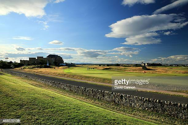 The road and wall behind the green on the 495 yards par 4 17th hole 'Road' on the Old Course at St Andrews venue for The Open Championship in 2015 on...
