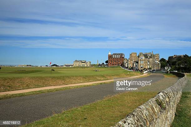 The road and wall behind the green on the par 4 17th hole 'The Road Hole' with the par 4 18th hole behind on the Old Course at St Andrews venue for...