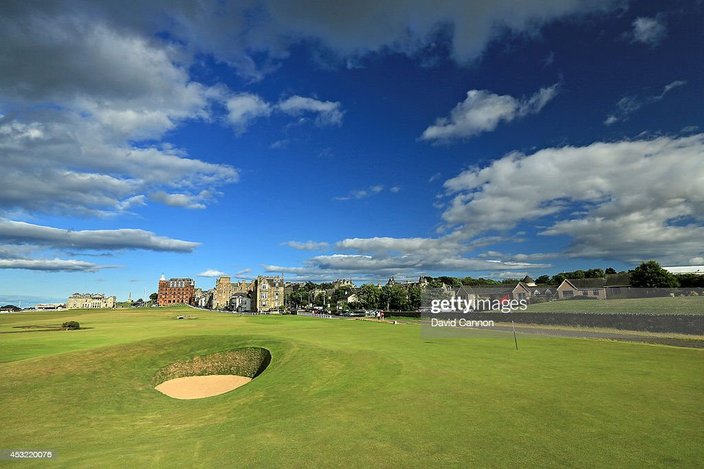 The 'Road Hole Bunker' which protects the green on the 495 yards par 4, 17th hole 'Road' on the Old Course at St Andrews venue for The Open Championship in 2015, on July 29, 2014 in St Andrews, Scotland.