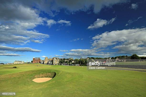The 'Road Hole Bunker' which protects the green on the 495 yards par 4 17th hole 'Road' on the Old Course at St Andrews venue for The Open...