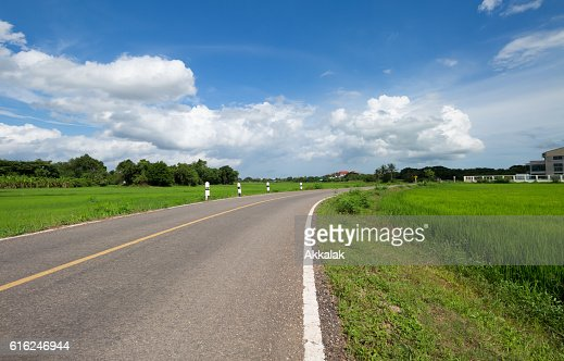 Estrada de vale verde campo de Arroz : Foto de stock