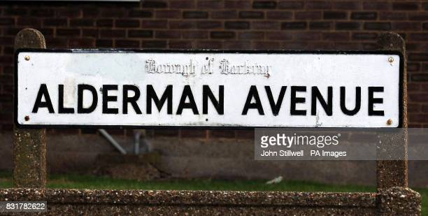 The road sign for Alderman Avenue in Barking Essex where three people were found dead from a gas leak
