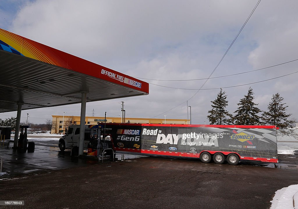 The Road to Daytona Fueled By Sunoco Tour hauler stops for fuel at a Sunoco station on February 5, 2013 in Southgate, Michigan.