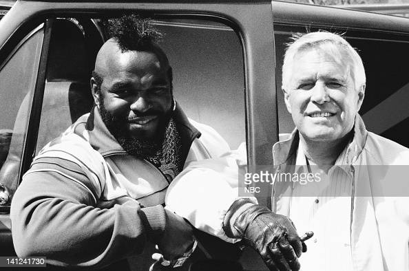 TEAM 'The Road to Hope' Episode 5 Pictured Mr T as BA Baracus George Peppard as John 'Hannibal' Smith Photo by Robert Isenberg/NBCU Photo Bank
