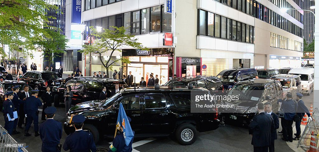 The roads around a sushi restaurant where U.S. President Barack Obama and Japanese Prime Minister Shinzo Abe have dinner are closed on April 23, 2014 in Tokyo, Japan. The U.S. President is on an Asian tour where he is due to visit Japan, South Korea, Malaysia and Philippines.