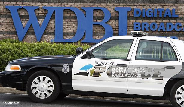 The Roanoke Police Department patrols at the gate of WDBJ's television studios August 27 in Roanoke Virginia The former television reporter who shot...
