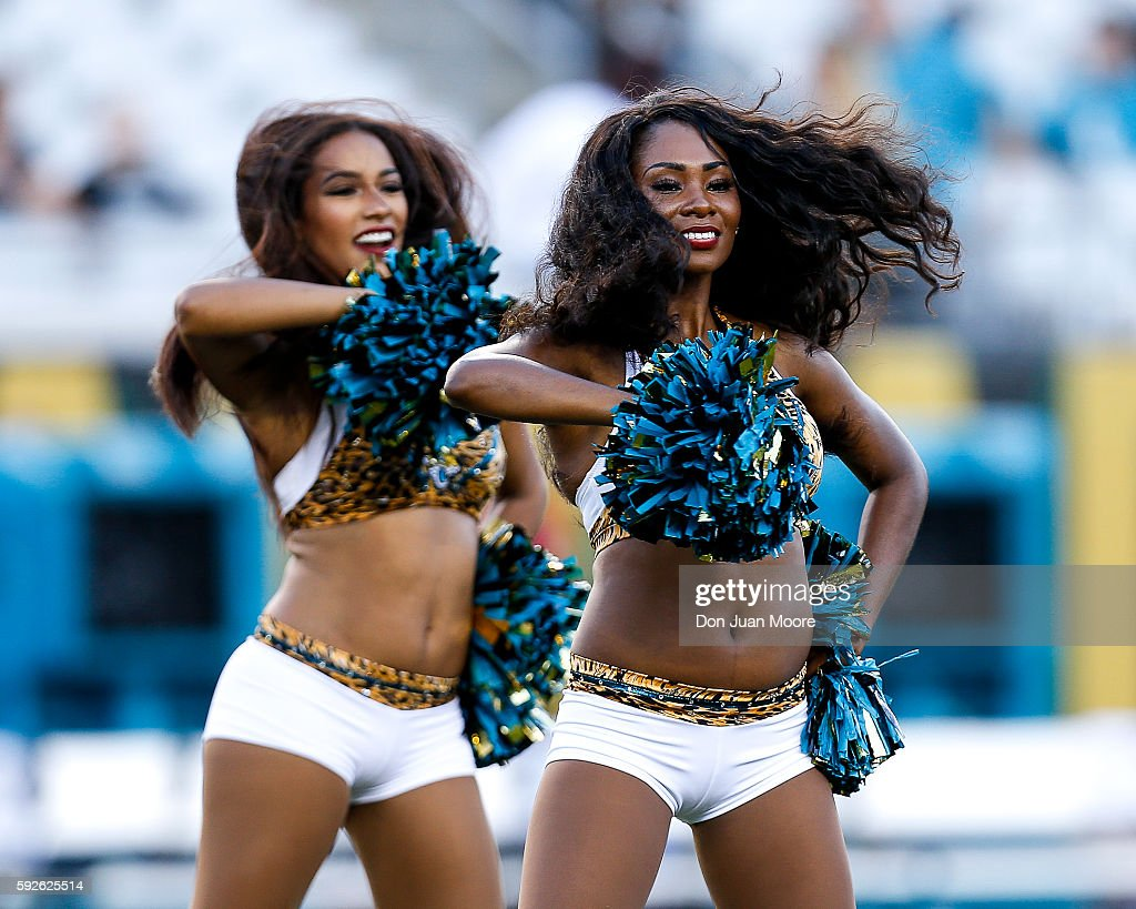 The ROAR Cheerleaders of the Jacksonville Jaguars performs during a preseason game against the Tampa Bay Buccaneers at EverBank Field on August 20, 2016 in Jacksonville, Florida. The Bucs defeated the Jags 27 to 21.