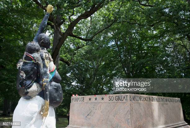 TOPSHOT The Robert E Lee and Thomas J 'Stonewall' Jackson monument base is viewed in Wyman Park Dell in Baltimore Maryland after being removed by the...