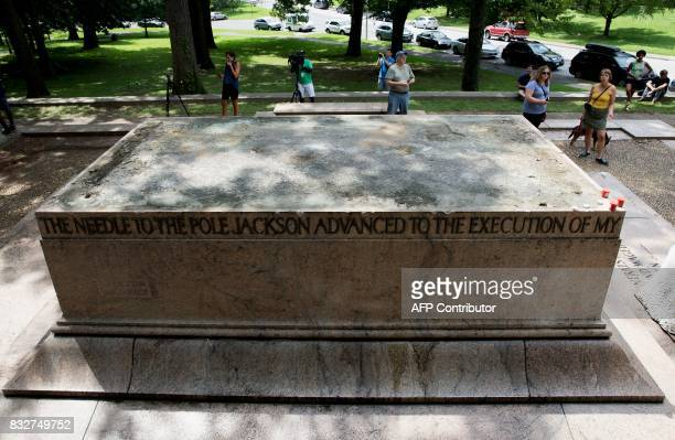 The Robert E Lee and Thomas J 'Stonewall' Jackson monument base is viewed in Wyman Park Dell in Baltimore Maryland after being removed by the city on...