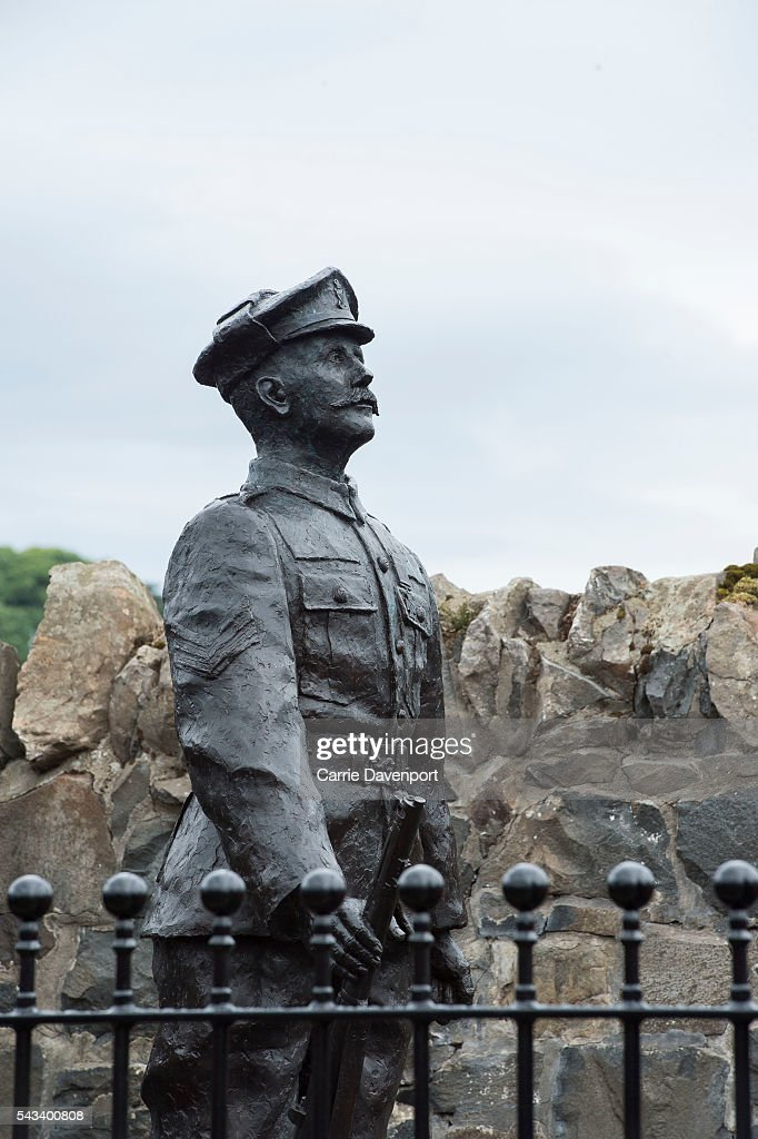 The Robert Quigg VC memorial statue during a visit from Queen Elizabeth II & Prince Philip, Duke Of Edinburgh (Not Pictured) in Bushmills village on June 28, 2016 in Bushmills, Northern Ireland.