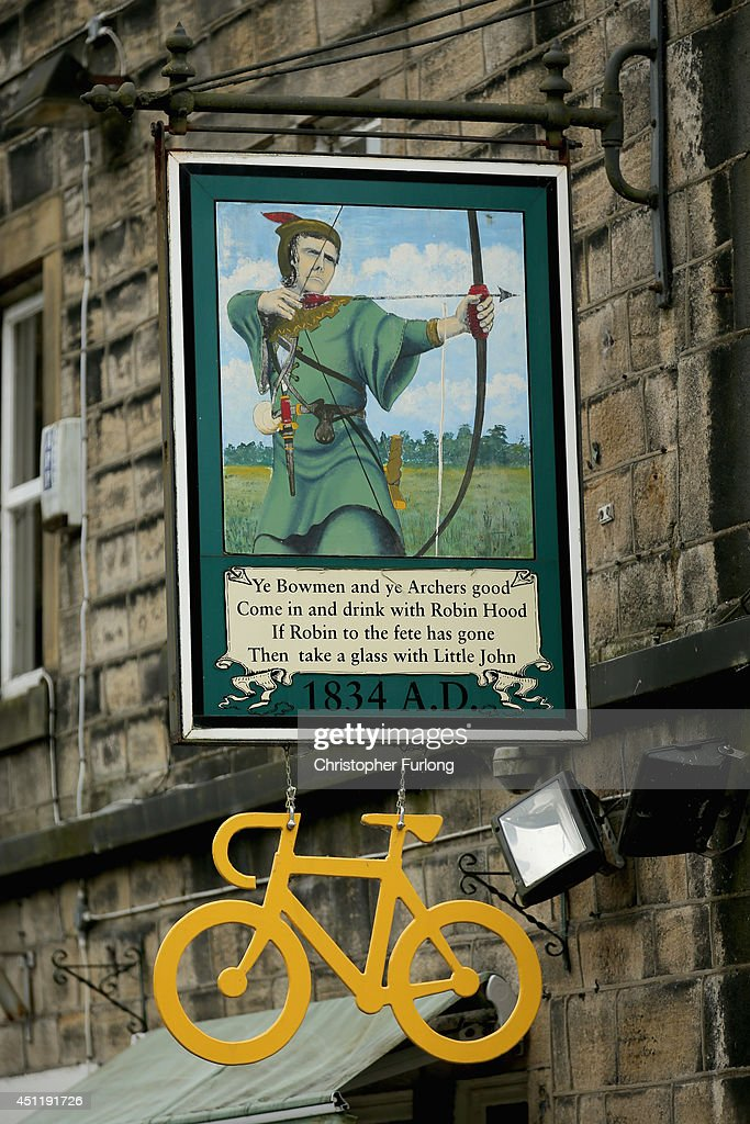 The Robin Hood Pub adds a yellow bicycle as Yorkshire prepares to host the Tour de France Grand Depart, on June 24, 2014 in Hebden Bridge, United Kingdom. The people of Yorkshire are preparing to give the riders of the 2014 Tour de France a grand welcome as the route of stages one and two are decorated with bunting, bikes and yellow jerseys The Grand Depart of the 2014 Tour De France is taking place in Leeds with the first two stages taking place across Yorkshire on 6th and 7th of July.