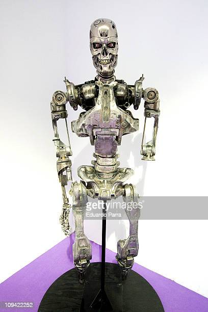 The robotic endoskeleton of a T800 cyborg used in the movie Terminator 2 is displayed on the exhibition 'Fantastic SyFy Objects' at the Royal...